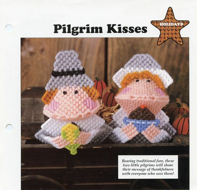 Pilgrim Kisses Kissies Squeezies Thanksgiving Plastic Canvas Pattern Leaflet