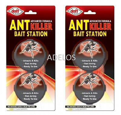 Ant-killer (4 x Ant Killer Trap Stop Bait Destroy Ants Nest Home Stations DOFF (2 Packs))