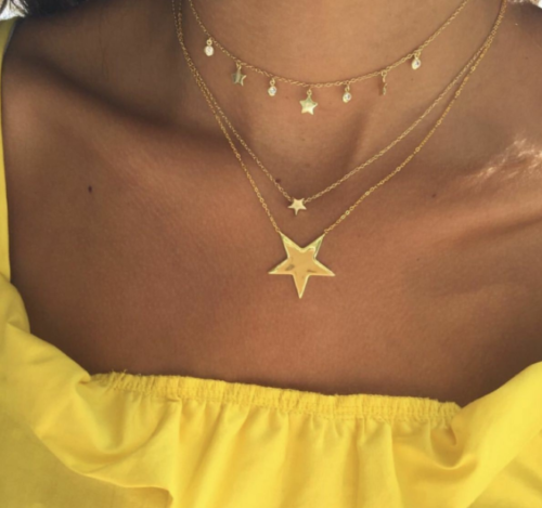Women/'s Star Pendant Choker Necklace Gold Plated Long Chain Jewelry Simple Charm
