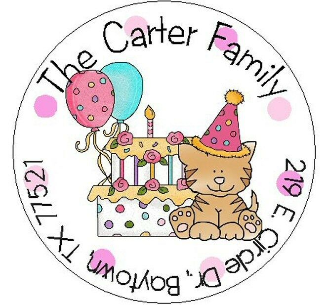 CAT AT PARTY -  Round Return Address Labels