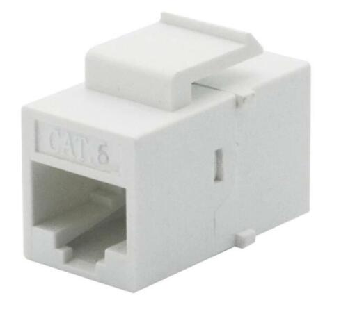 100 pcs LOT Inline RJ45 Keystone Wall Coupler Jack Adapter White CAT6/6e