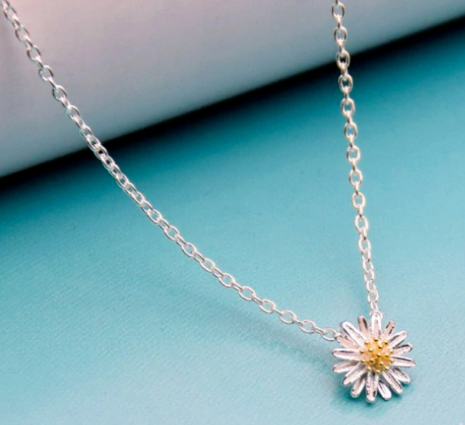 Jewellery - Daisy Pendant Necklace Silver 925 Sterling Flower Girl Ladies Jewellery Boho UK