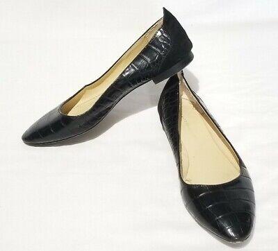 Zara Basic Size 36, 6 Flats Pointed Toe Black Vegan Leather Reptile Career Shoes