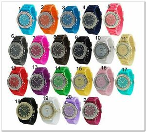 Geneva-Silicone-Jelly-Watch-with-Crystals-on-Bezel-Multi-Colors-to-Choose