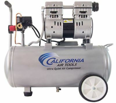 Portable Electric Quiet Oil-free Air Compressor 8 Gal Tank 1hp Dual Piston Pump