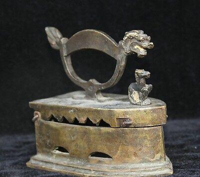 Collectible Old Bronze Dragon Handle Horse Statue Flatiron Sadiron Ironing Tool