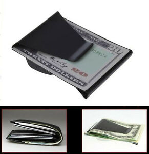 Black-Slim-Stainless-Steel-Double-Sided-Money-Clip-Wallet-Credit-Card-ID-Holder