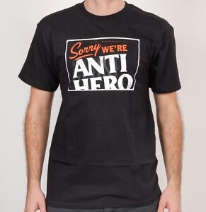 Anti-Hero-Skateboard-Maglietta-Mi-dispiace-We-039-re-Anti-Hero-Grande-Nero