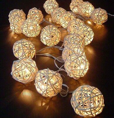 5M 20 LED Warm White Rattan Ball LED String Christmas Weddin