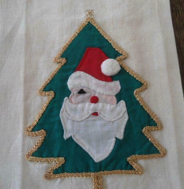 Vintage Set Winking Santa Claus Christmas Tree Towels Hand Embroidered