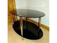 Black glass & chrome coffee table