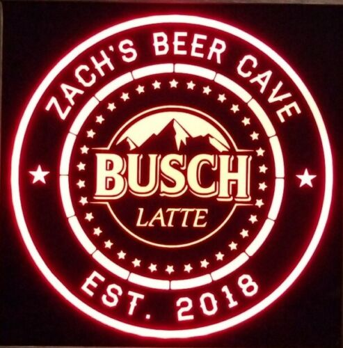 Busch latte Beer LED Sign Personalized, Home bar pub Sign, Lighted Sign