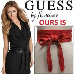 NEW GUESS WRAP BELT WOMEN'S OSFM OBI LEATHER WRAP BELT - RED - SELF TIE 99693626