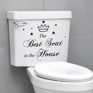 The best seat in the house quote toilet bathroom stickers for A bathroom item that starts with e