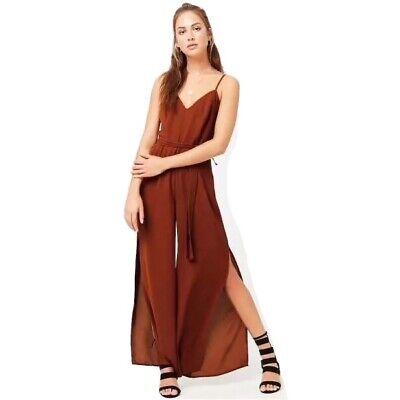 Wide Split Leg Tie Front Rust Jumpsuit Size 8 10