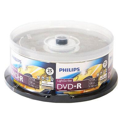 Philips LightScribe DVD 16X Blank Disc Optical Printable Media 4.7GB 120min-25pk