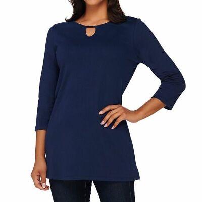 Liz Claiborne New York Size 3X Navy Tunic w/ Keyhole Necklin