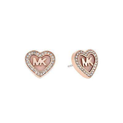 MICHAEL KORS Rose Gold-tone MK Logo Heart Stud Earrings MKJ5066