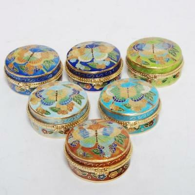 Group Of 6 Cloisonne Round Hinged Trinket Boxes W  Butterfly Motif