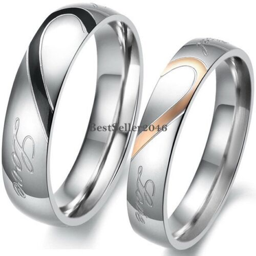 "Jewellery - Stainless Steel "" Real Love "" Heart Couples Promise Engagement Ring Wedding Band"