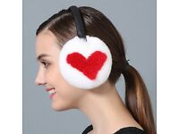 DAYMISFURRY--White And Red Rex Rabbit Fur Earmuffs With Leather Band