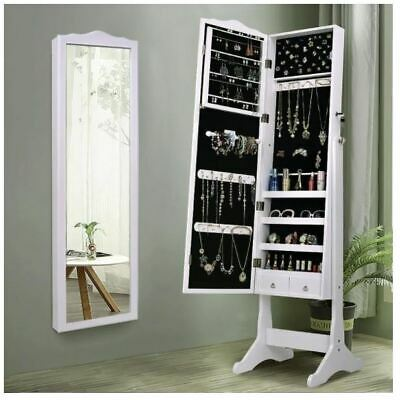 63 inch Lockable Wall Mounted Mirrored Wood Jewelry Armoire Cabinet with Stand