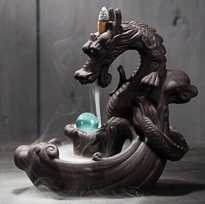 Ceramic Backflow Dragon Incense Burner Creative Home Decor Censer Crystal Ball