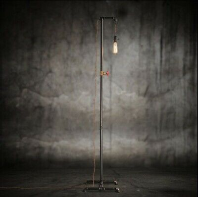 Vintage Industrial Retro style handmade tall steel pipe floor lamp Edison bulb