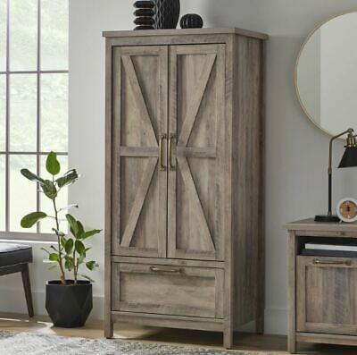 Rustic Bedroom Wardrobe Armoire Large Gray Farmhouse Storage Closet Cabinet