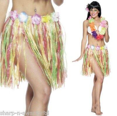 Damen-Multi Hawaiianisches Hula-Mädchen Blumen Kurz Bastrock Maskenkostüm