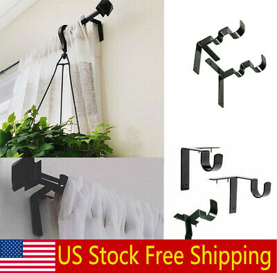 Double Hang Curtain Rod Holders Tap Right Window Frame Curtain Rod Bracket US
