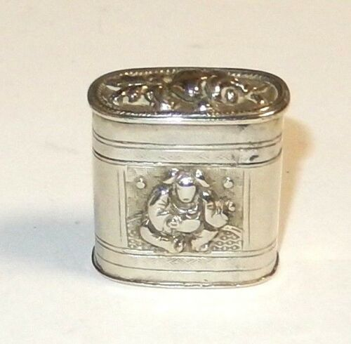 RARE OLD SMALL CHINESE SILVER OPIUM JAR BOX
