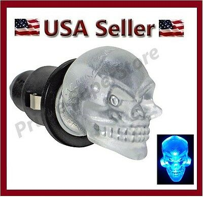 12V SKULL HEAD BLUE LED DASH GLOW INTERIOR MAP LIGHT CAR PLUG2 CIGARETTE LIGHTER