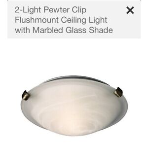 5x pewter clip flushmount ceiling lights with marble glass shade