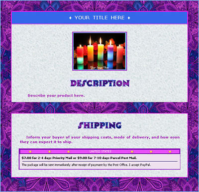 AUCTION TEMPLATE Abstract Chic Design Border Blue Purple - FREE SHIPPING - $1.99
