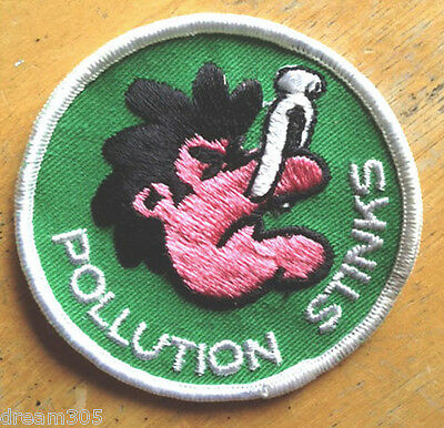 Vintage Hippie Ecology  Patch POLLUTION STINKS - Camping Hiking Skiing Badge!