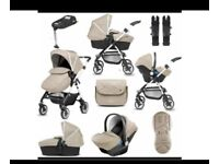 Silver cross pram and car seat package, comes with carry cot. 12 months old, absolute bargain