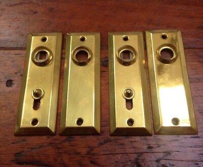 - 4 Vtg Antique Bright Lacquered Brass Key Hole Escutcheon Door Knob Plates Covers
