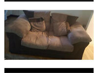 2 & 3 seater cream and brown sofa