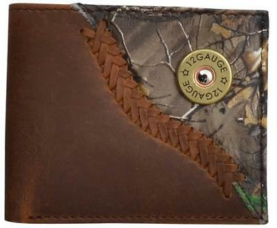 Badger Western Mens Wallet Leather Bifold Shotgun Concho Laced Camo Brown BW032