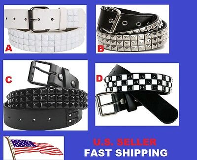 (3-Row Metal Pyramid Studded Leather Belt Men' Unisex Women's Punk Rock Goth Emo)