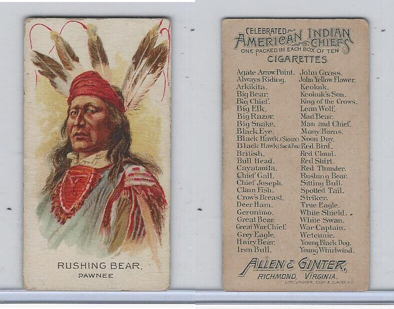 N2 Allen & Ginter, Celebrated American Indian Chiefs, 1888, Rushing Bear