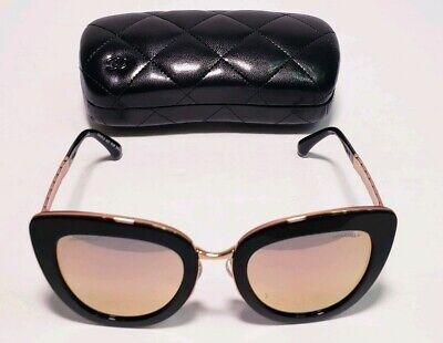 CHANEL Women's Black/Gold Cat Eye Quilted Sunglasses 5368 c.1581/4Z 52□23 140 (Chanel Cat Eye)