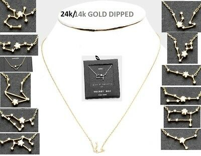 14k 24K Gold Dipped Pendant Constellation Zodiac Sign Necklace Crystal Chain