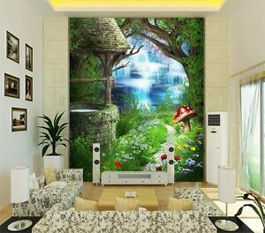 Wonderland fantasy green secret garden full wall mural for Home wallpaper ebay