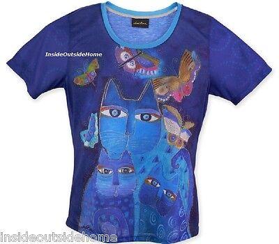 Laurel Burch T Shirt Indigo Cat Butterfly Short Sleeve Polyester Russian Blue Lg