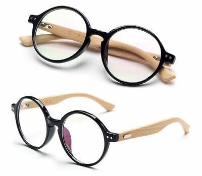 Vintage Wooden Eyeglass Frames Round Handmade Rx Spectacles Optical Eyewear