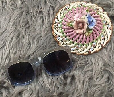 Wildfox Gaudy Blue Gold Glitter Sunglasses Colored Lenses NWOT