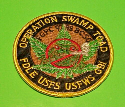 "OPERATION SWAMP TOAD (  SMOKING TOAD )  3 1/2""  POLICE PATCH  FREE SHIPPING!!"