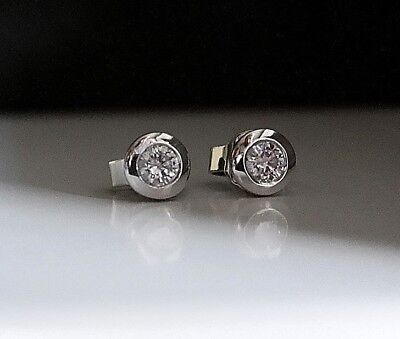 Diamond stud earrings rubover set 18ct White Gold 0.40 TCW